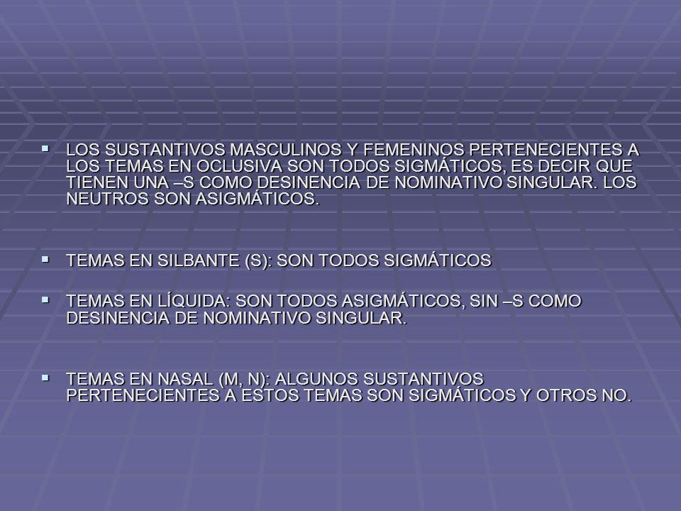 PARADIGMA DE LOS SUSTANTIVOS DE TEMA EN CONSONANTE NASAL: legio, legionis (femenino ASIGMÁTICO) SINGULARPLURAL NOMINATIVOLEGIOLEGIONES VOCATIVOLEGIOLEGIONES ACUSATIVOLEGIONEMLEGIONES GENITIVOLEGIONISLEGIONUM DATIVOLEGIONILEGIONIBUS ABLATIVOLEGIONELEGIONIBUS