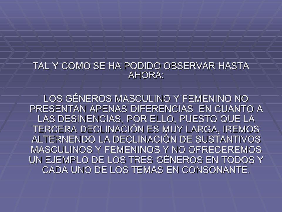 TAL Y COMO SE HA PODIDO OBSERVAR HASTA AHORA: LOS GÉNEROS MASCULINO Y FEMENINO NO PRESENTAN APENAS DIFERENCIAS EN CUANTO A LAS DESINENCIAS, POR ELLO, PUESTO QUE LA TERCERA DECLINACIÓN ES MUY LARGA, IREMOS ALTERNENDO LA DECLINACIÓN DE SUSTANTIVOS MASCULINOS Y FEMENINOS Y NO OFRECEREMOS UN EJEMPLO DE LOS TRES GÉNEROS EN TODOS Y CADA UNO DE LOS TEMAS EN CONSONANTE.