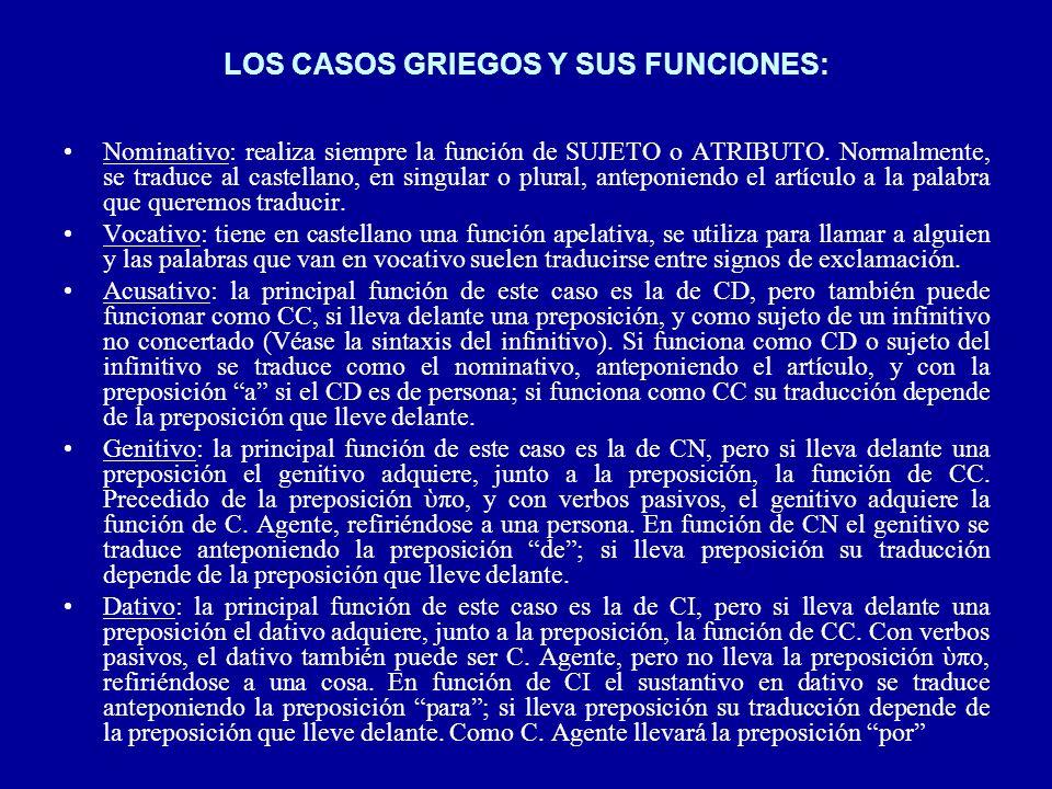 LOS CASOS GRIEGOS Y SUS FUNCIONES: Nominativo: realiza siempre la función de SUJETO o ATRIBUTO. Normalmente, se traduce al castellano, en singular o p