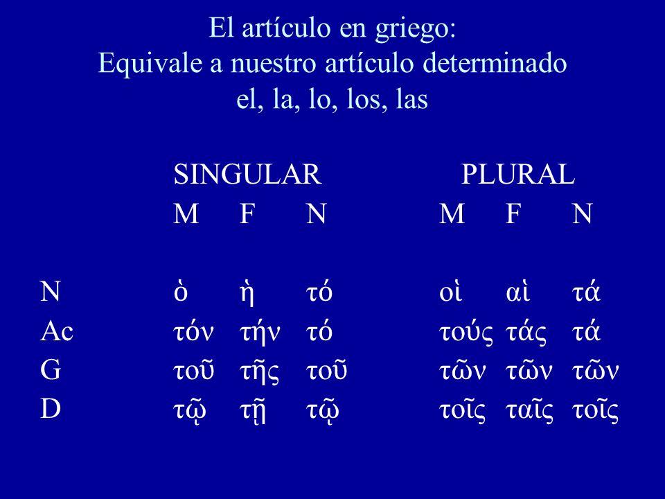 El artículo en griego: Equivale a nuestro artículo determinado el, la, lo, los, las SINGULAR PLURAL MFNMFNMFNMFN N τ ο α τ Acτ ντ ντ το ςτ ςτ Gτο τ ςτ