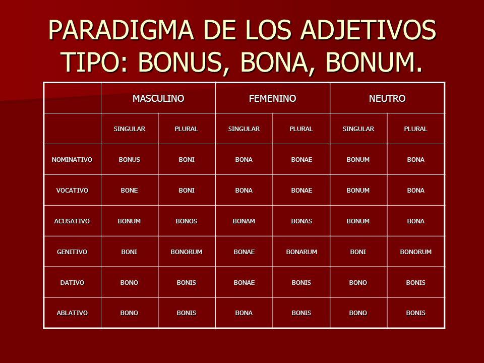 PARADIGMA DE LOS ADJETIVOS TIPO: BONUS, BONA, BONUM. MASCULINOFEMENINONEUTRO SINGULARPLURALSINGULARPLURALSINGULARPLURAL NOMINATIVOBONUSBONIBONABONAEBO