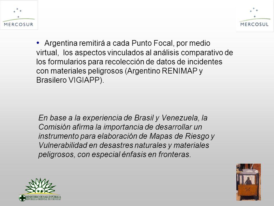Argentina remitirá a cada Punto Focal, por medio virtual, los aspectos vinculados al análisis comparativo de los formularios para recolección de datos de incidentes con materiales peligrosos (Argentino RENIMAP y Brasilero VIGIAPP).