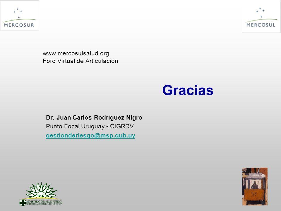 www.mercosulsalud.org Foro Virtual de Articulación Gracias Dr. Juan Carlos Rodríguez Nigro Punto Focal Uruguay - CIGRRV gestionderiesgo@msp.gub.uy