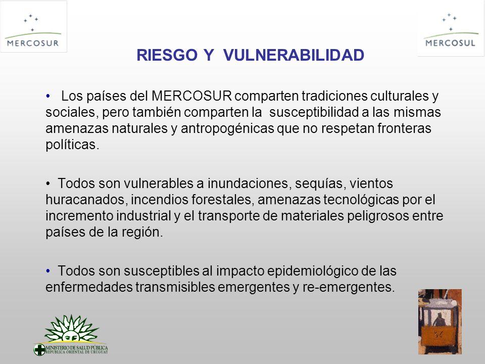 RIESGO Y VULNERABILIDAD Los países del MERCOSUR comparten tradiciones culturales y sociales, pero también comparten la susceptibilidad a las mismas am
