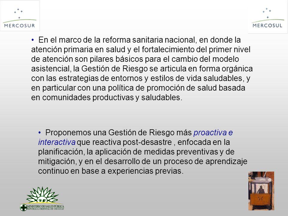 VISION de la CIGRRV Acreditar el MERCOSUR como región integrada, solidaria y organizada en materia de preparativos y respuestas a emergencias y desastres, mediante el desarrollo de una Estrategia Regional Común en el sector Salud que permita mitigar el impacto de los eventos adversos en los países afectados.