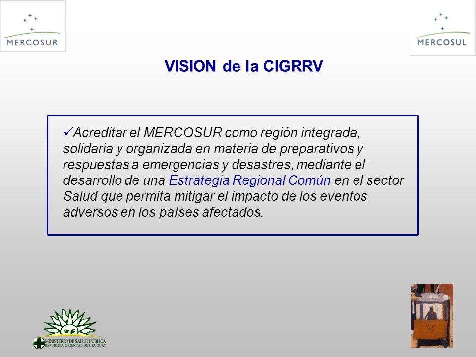 MISIÓN de la CIGRRV Fortalecer los Programas de Gestión de Riesgo en prevención – mitigación y respuesta ante eventos adversos, mediante la coordinación de acciones en el sector Salud, y apoyados en el intercambio de información entre Estados Partes y Asociados.