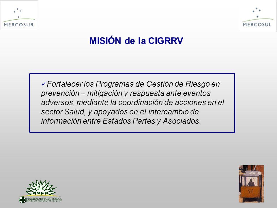 MISIÓN de la CIGRRV Fortalecer los Programas de Gestión de Riesgo en prevención – mitigación y respuesta ante eventos adversos, mediante la coordinaci