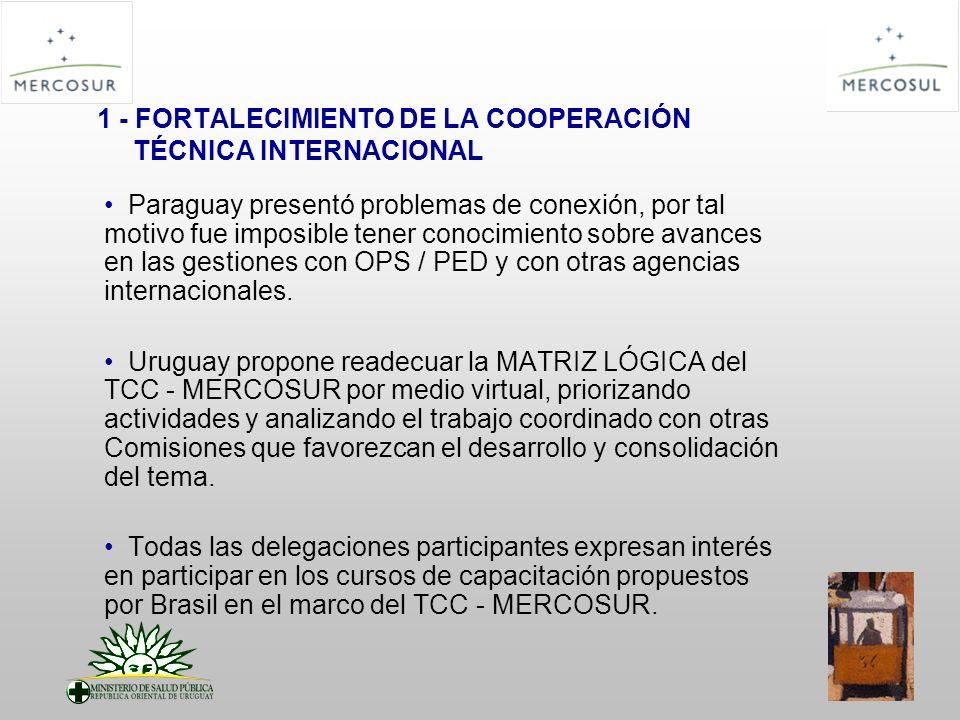 1 - FORTALECIMIENTO DE LA COOPERACIÓN TÉCNICA INTERNACIONAL Paraguay presentó problemas de conexión, por tal motivo fue imposible tener conocimiento s