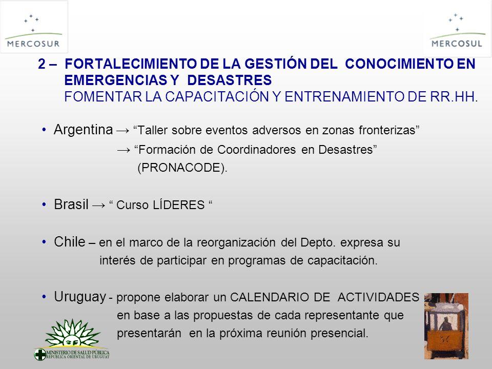 2 – FORTALECIMIENTO DE LA GESTIÓN DEL CONOCIMIENTO EN EMERGENCIAS Y DESASTRES FOMENTAR LA CAPACITACIÓN Y ENTRENAMIENTO DE RR.HH. Argentina Taller sobr