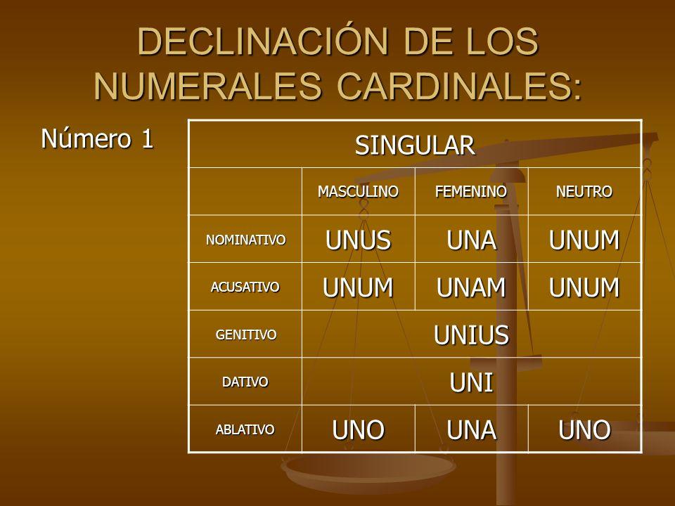 DECLINACIÓN DE LOS NUMERALES CARDINALES: Número 1 SINGULAR MASCULINOFEMENINONEUTRO NOMINATIVOUNUSUNAUNUM ACUSATIVOUNUMUNAMUNUM GENITIVOUNIUS DATIVOUNI