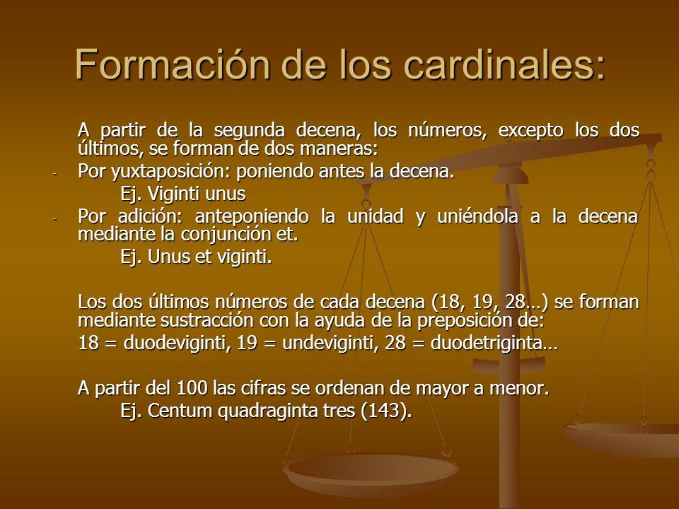 Formación de los cardinales: A partir de la segunda decena, los números, excepto los dos últimos, se forman de dos maneras: - Por yuxtaposición: ponie