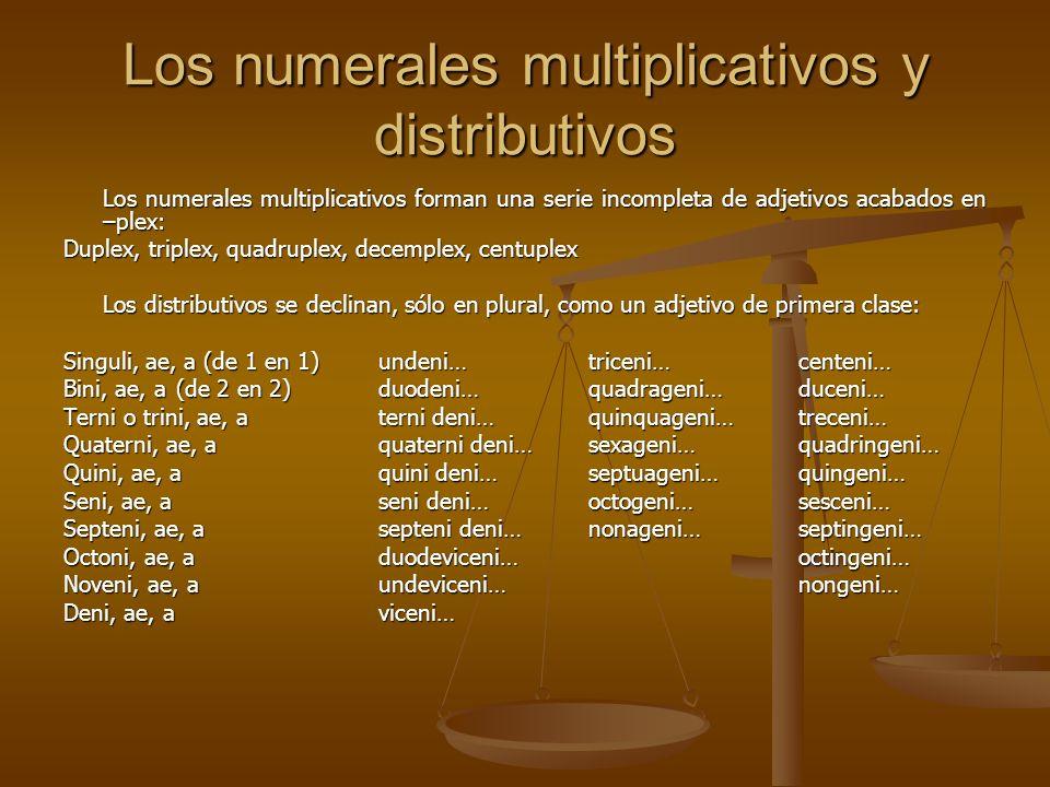 Los numerales multiplicativos y distributivos Los numerales multiplicativos forman una serie incompleta de adjetivos acabados en –plex: Duplex, triple