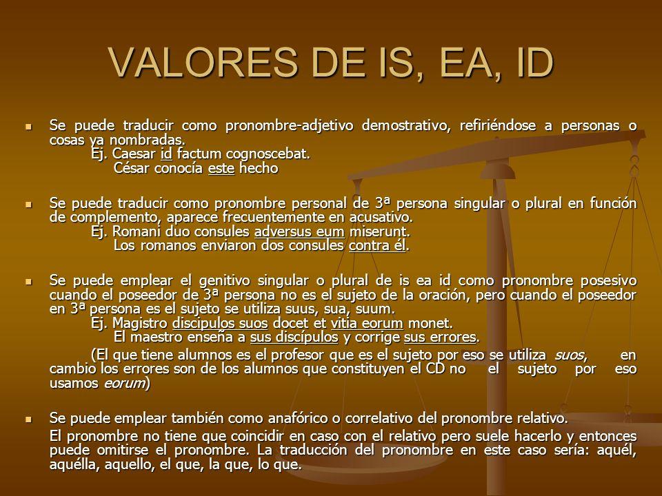 VALORES DE IS, EA, ID Se puede traducir como pronombre-adjetivo demostrativo, refiriéndose a personas o cosas ya nombradas. Ej. Caesar id factum cogno
