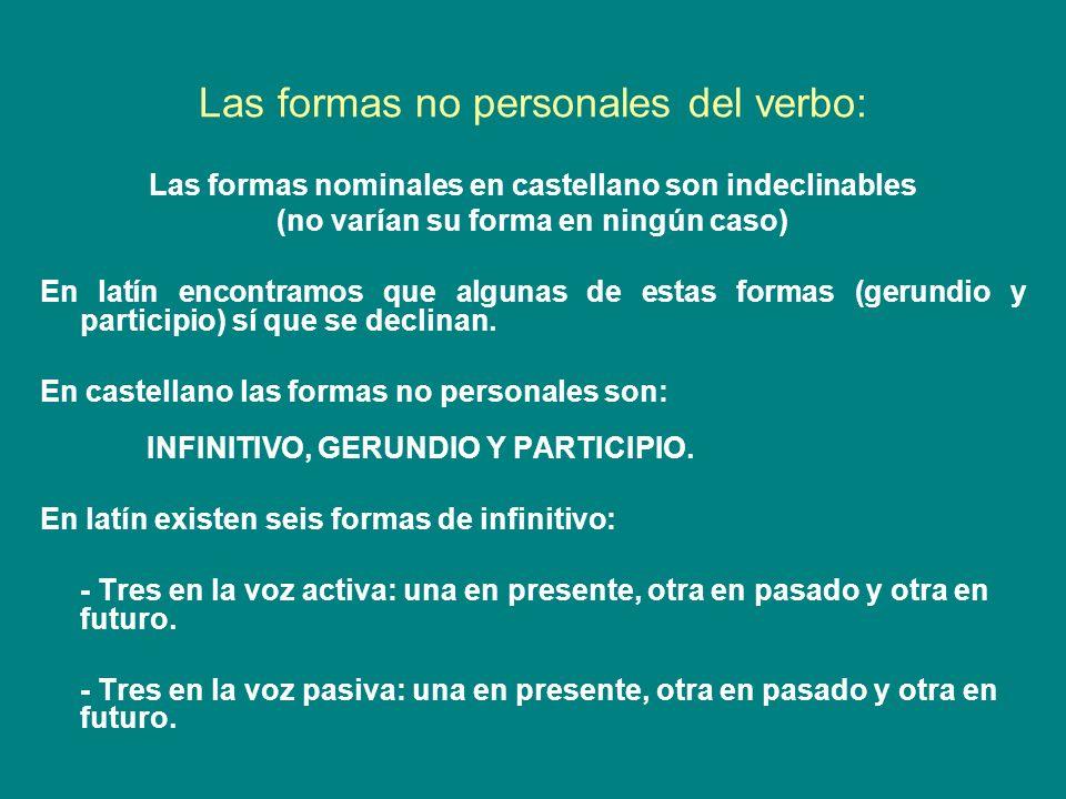 Las formas no personales del verbo: Las formas nominales en castellano son indeclinables (no varían su forma en ningún caso) En latín encontramos que