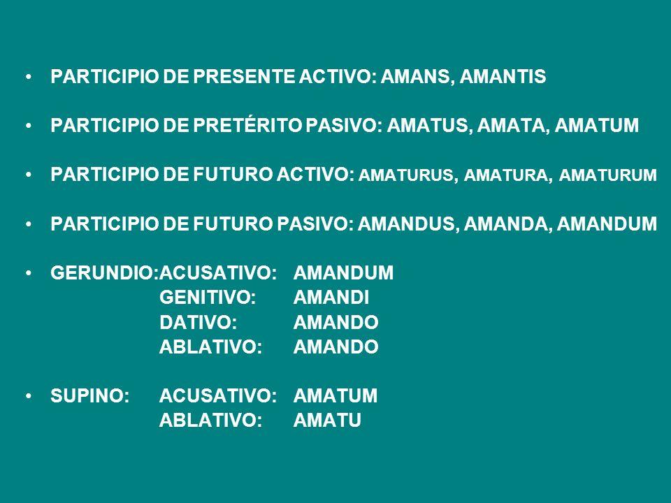 PARTICIPIO DE PRESENTE ACTIVO: AMANS, AMANTIS PARTICIPIO DE PRETÉRITO PASIVO: AMATUS, AMATA, AMATUM PARTICIPIO DE FUTURO ACTIVO: AMATURUS, AMATURA, AM