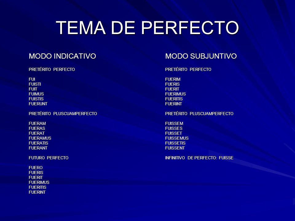 TEMA DE PERFECTO MODO INDICATIVOMODO SUBJUNTIVO PRETÉRITO PERFECTOPRETÉRITO PERFECTO FUIFUERIM FUISTIFUERIS FUITFUERIT FUIMUSFUERIMUS FUISTISFUERITIS