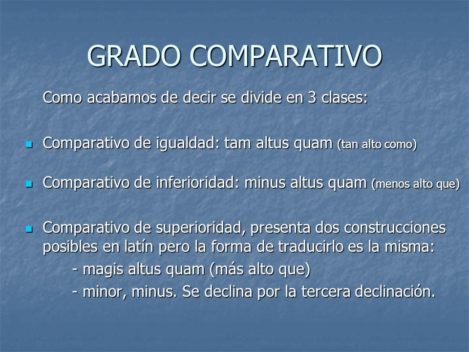 GRADO COMPARATIVO Como acabamos de decir se divide en 3 clases: Comparativo de igualdad: tam altus quam (tan alto como) Comparativo de igualdad: tam a
