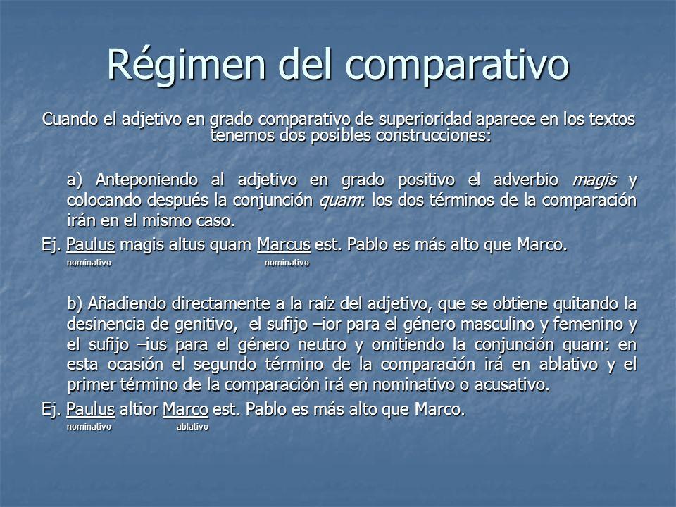 Régimen del comparativo Cuando el adjetivo en grado comparativo de superioridad aparece en los textos tenemos dos posibles construcciones: a) Anteponi