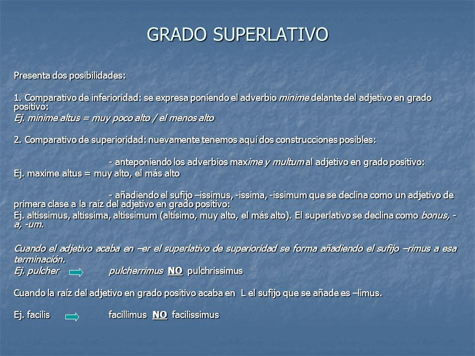 GRADO SUPERLATIVO Presenta dos posibilidades: 1. Comparativo de inferioridad: se expresa poniendo el adverbio minime delante del adjetivo en grado pos