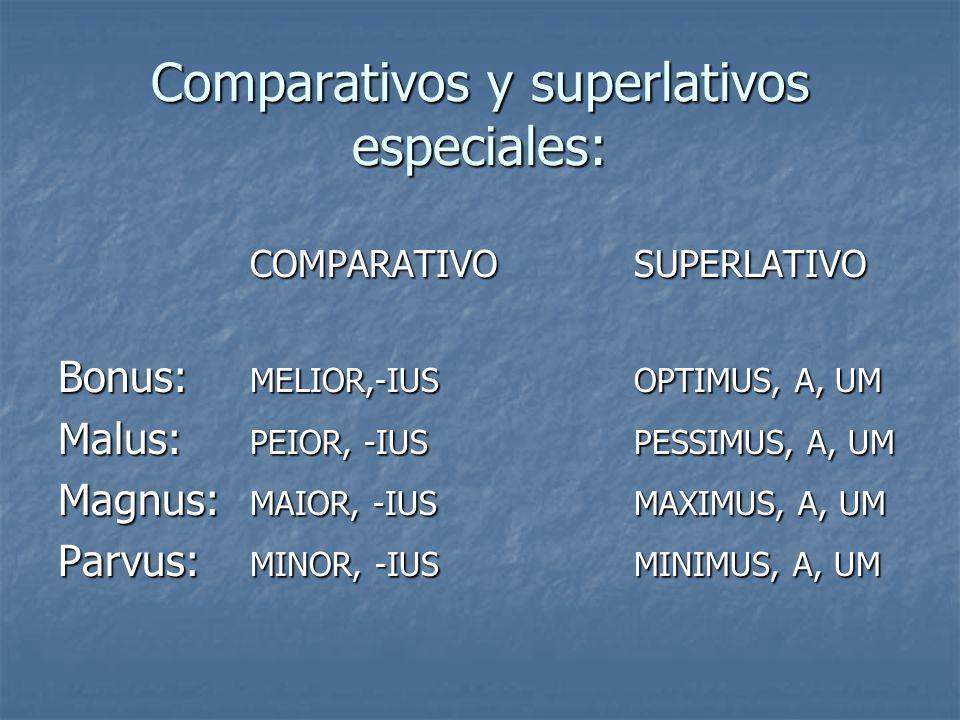 Comparativos y superlativos especiales: COMPARATIVOSUPERLATIVO Bonus: MELIOR,-IUSOPTIMUS, A, UM Malus: PEIOR, -IUSPESSIMUS, A, UM Magnus: MAIOR, -IUSM