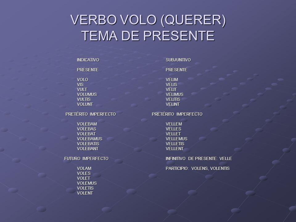 VERBO VOLO (QUERER) TEMA DE PRESENTE INDICATIVOSUBJUNTIVO PRESENTE PRESENTE VOLOVELIM VISVELIS VULTVELIT VOLUMUSVELIMUS VULTISVELITIS VOLUNTVELINT PRE