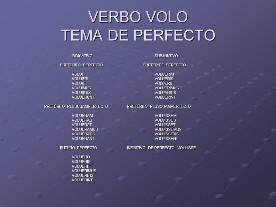 VERBO VOLO TEMA DE PERFECTO INDICATIVOSUBJUNTIVO PRETÉRITO PERFECTO PRETÉRITO PERFECTO PRETÉRITO PERFECTO PRETÉRITO PERFECTO VOLUIVOLUERIM VOLUISTIVOL