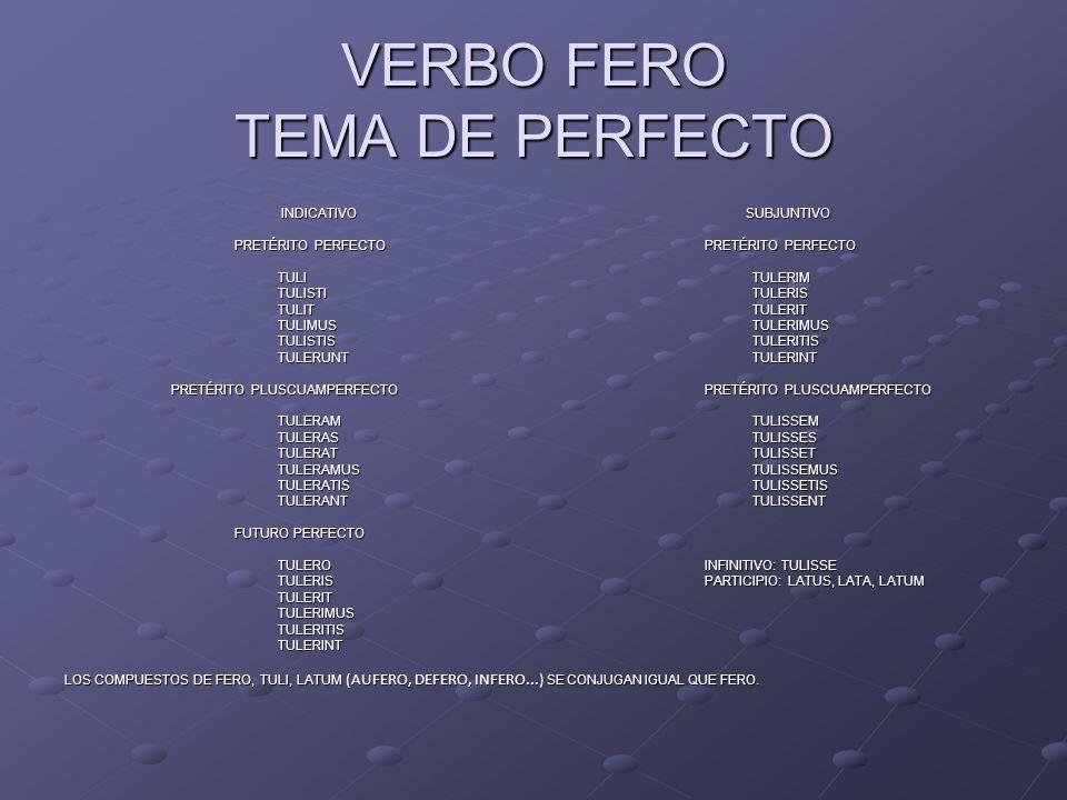 VERBO FERO TEMA DE PERFECTO INDICATIVO SUBJUNTIVO INDICATIVO SUBJUNTIVO PRETÉRITO PERFECTOPRETÉRITO PERFECTO PRETÉRITO PERFECTOPRETÉRITO PERFECTO TULI
