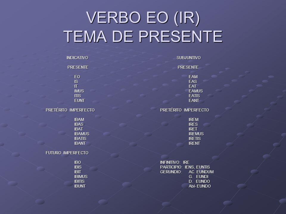 VERBO EO (IR) TEMA DE PRESENTE INDICATIVO SUBJUNTIVO INDICATIVO SUBJUNTIVO PRESENTE PRESENTE PRESENTE PRESENTE EOEAM ISEAS ITEAT IMUSEAMUS ITISEATIS E
