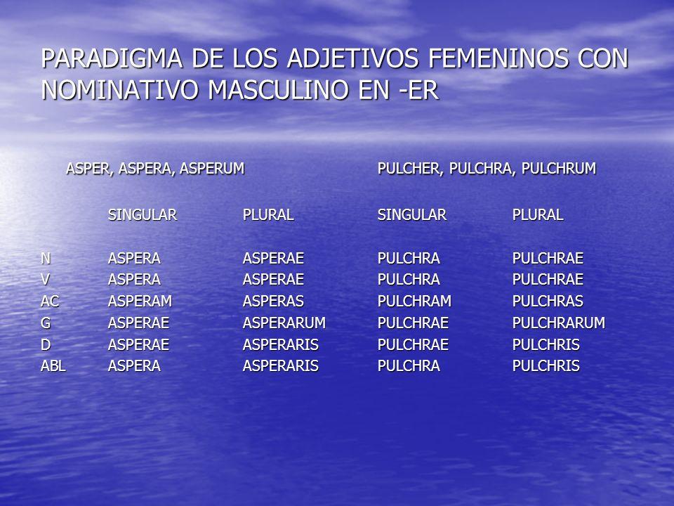 PARADIGMA DE LOS ADJETIVOS FEMENINOS CON NOMINATIVO MASCULINO EN -ER ASPER, ASPERA, ASPERUMPULCHER, PULCHRA, PULCHRUM SINGULARPLURALSINGULARPLURAL NAS