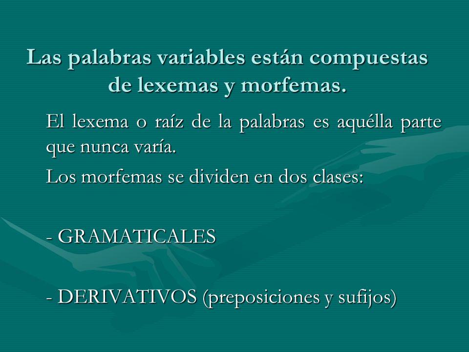 Las palabras variables están compuestas de lexemas y morfemas. El lexema o raíz de la palabras es aquélla parte que nunca varía. Los morfemas se divid