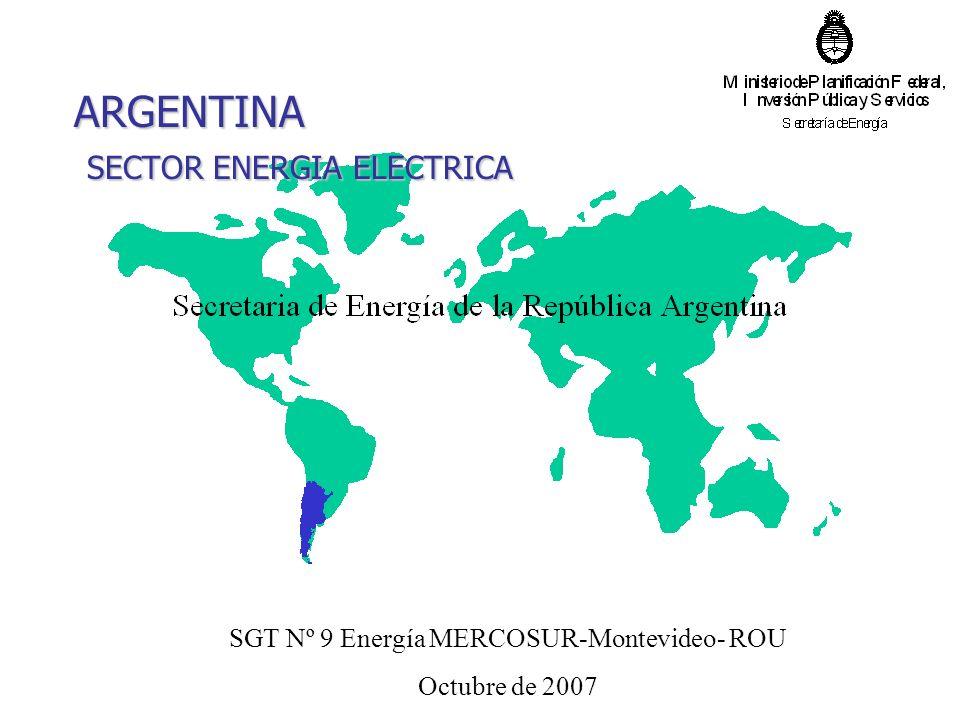 ARGENTINA SECTOR ENERGIA ELECTRICA SGT Nº 9 Energía MERCOSUR-Montevideo- ROU Octubre de 2007