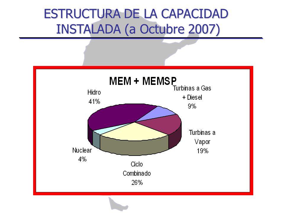 ESTRUCTURA DE LA CAPACIDAD INSTALADA (a Octubre 2007)