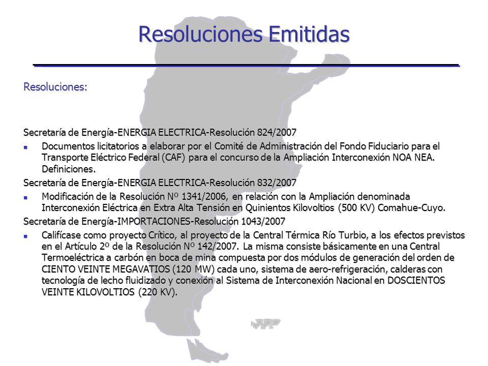 Resoluciones: Secretaría de Energía-ENERGIA ELECTRICA-Resolución 824/2007 Documentos licitatorios a elaborar por el Comité de Administración del Fondo Fiduciario para el Transporte Eléctrico Federal (CAF) para el concurso de la Ampliación Interconexión NOA NEA.