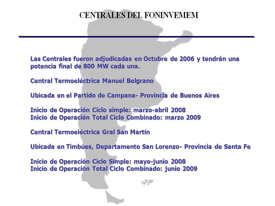 Las Centrales fueron adjudicadas en Octubre de 2006 y tendrán una potencia final de 800 MW cada una. Central Termoeléctrica Manuel Belgrano Ubicada en
