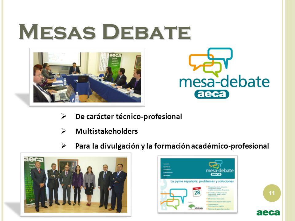 11 Mesas Debate De carácter técnico-profesional Multistakeholders Para la divulgación y la formación académico-profesional