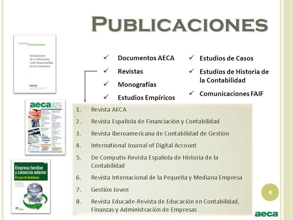 Publicaciones Documentos AECA Revistas Monografías Estudios Empíricos 4 Estudios de Casos Estudios de Historia de la Contabilidad Comunicaciones FAIF