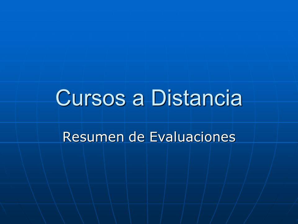 Cursos a Distancia Resumen de Evaluaciones