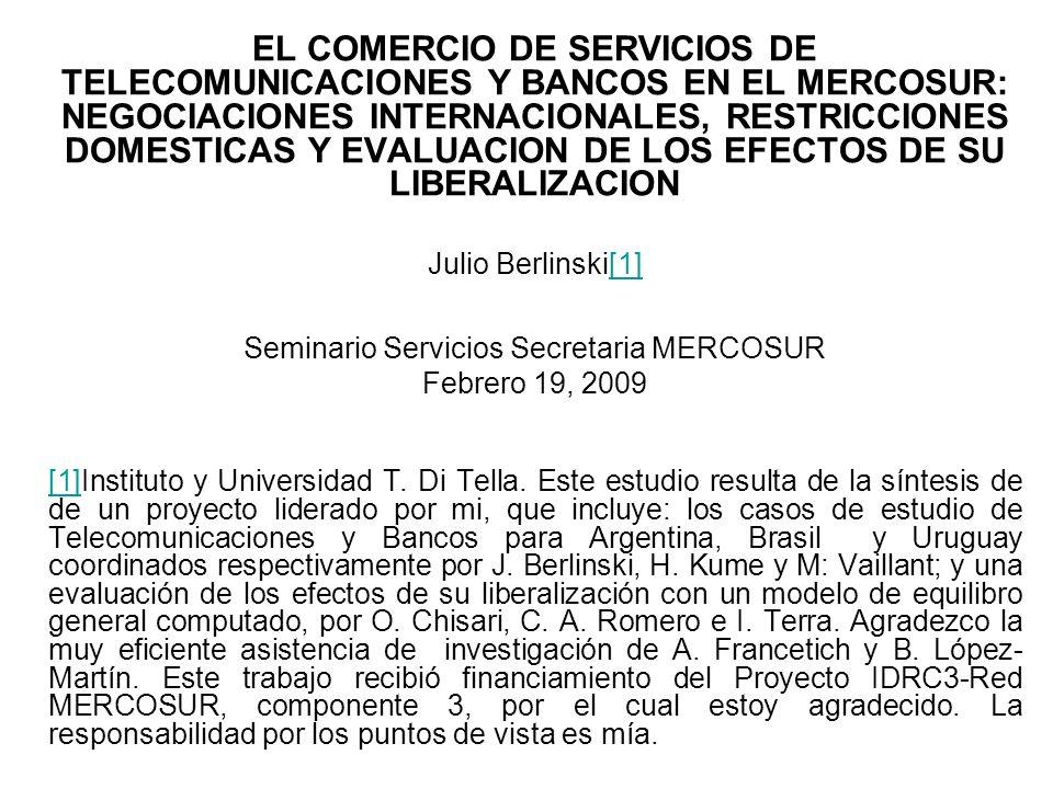 En el Cuadro 15, se presentan los indicadores de restricción en Bancos correspondientes a Argentina, Brasil y Uruguay: En Argentina las estimaciones para 1997 no implicaban ningún efecto restrictivo en bancos domésticos.