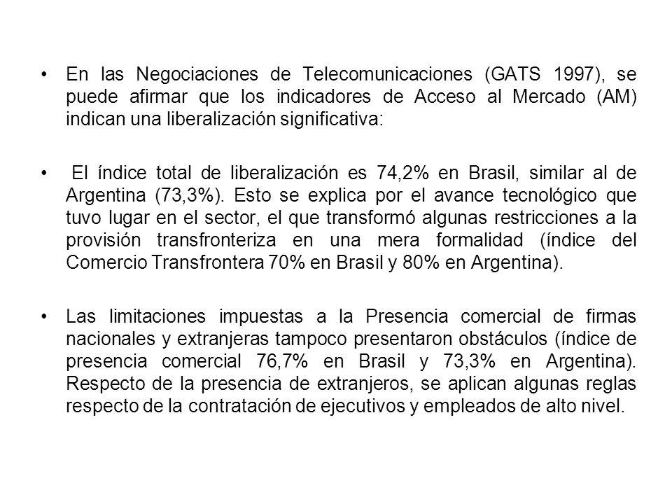 En las Negociaciones de Telecomunicaciones (GATS 1997), se puede afirmar que los indicadores de Acceso al Mercado (AM) indican una liberalización significativa: El índice total de liberalización es 74,2% en Brasil, similar al de Argentina (73,3%).