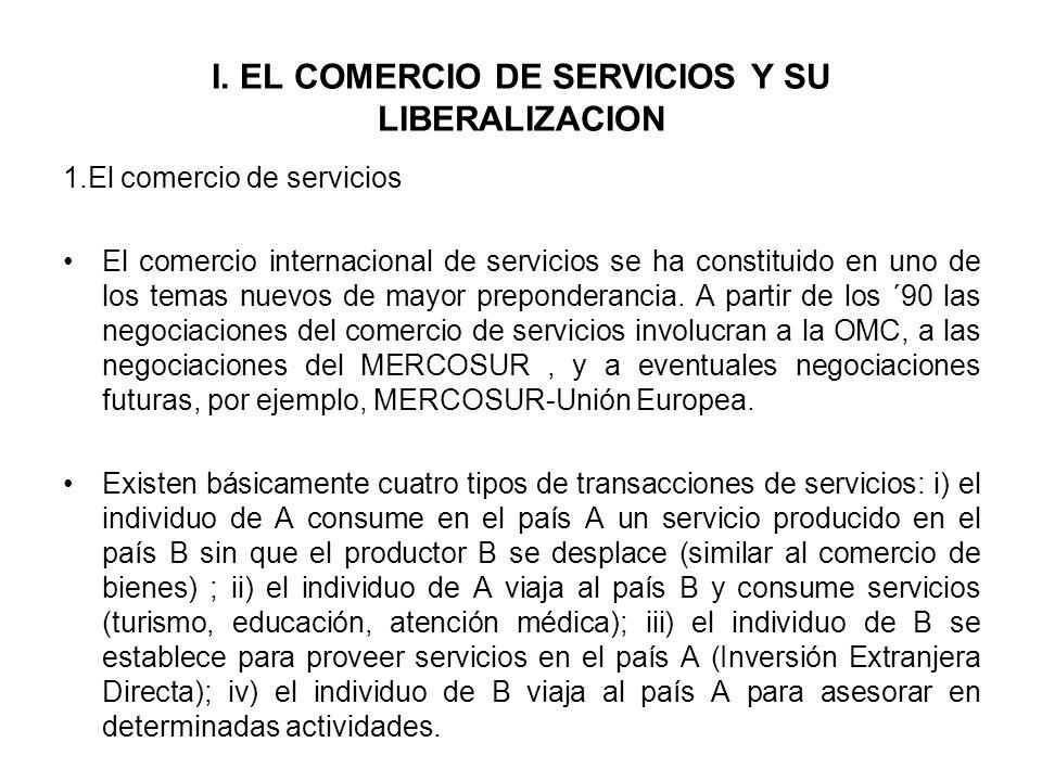 I. EL COMERCIO DE SERVICIOS Y SU LIBERALIZACION 1.El comercio de servicios El comercio internacional de servicios se ha constituido en uno de los tema