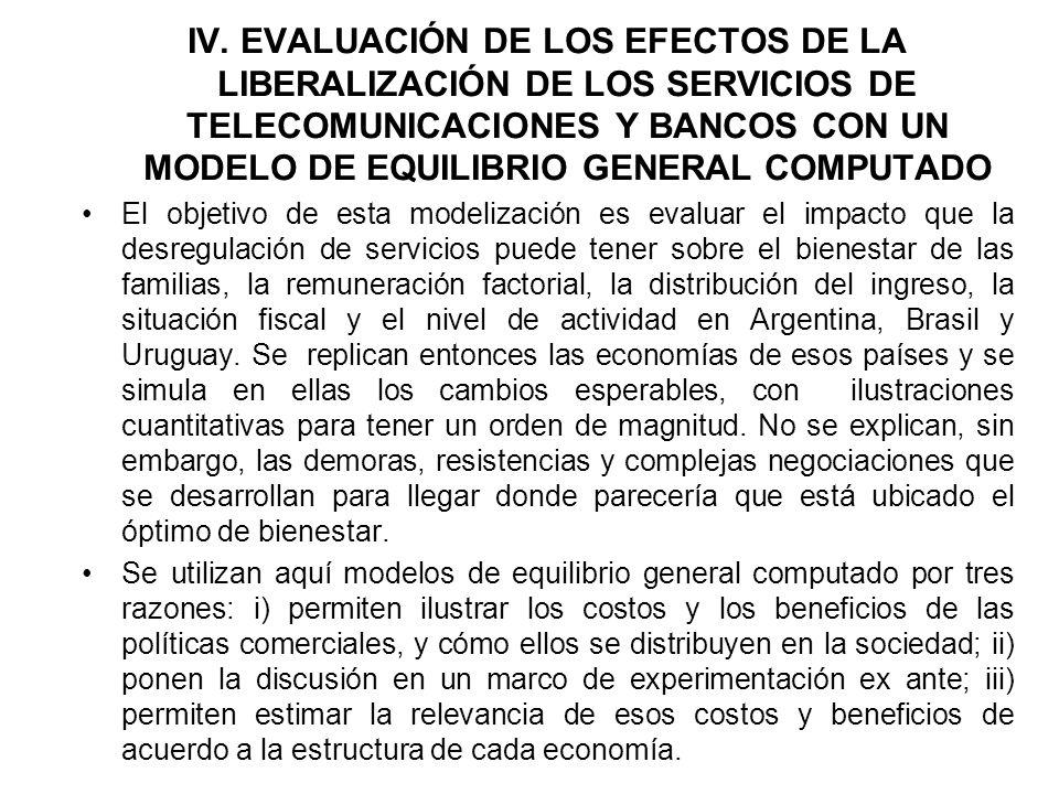 IV. EVALUACIÓN DE LOS EFECTOS DE LA LIBERALIZACIÓN DE LOS SERVICIOS DE TELECOMUNICACIONES Y BANCOS CON UN MODELO DE EQUILIBRIO GENERAL COMPUTADO El ob
