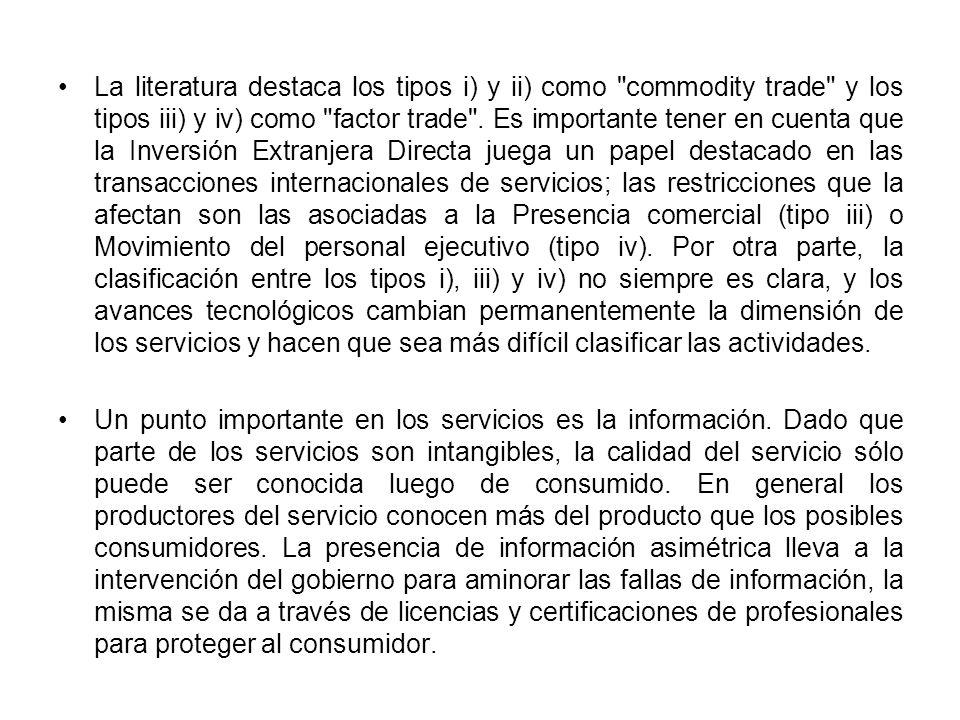 La literatura destaca los tipos i) y ii) como commodity trade y los tipos iii) y iv) como factor trade .