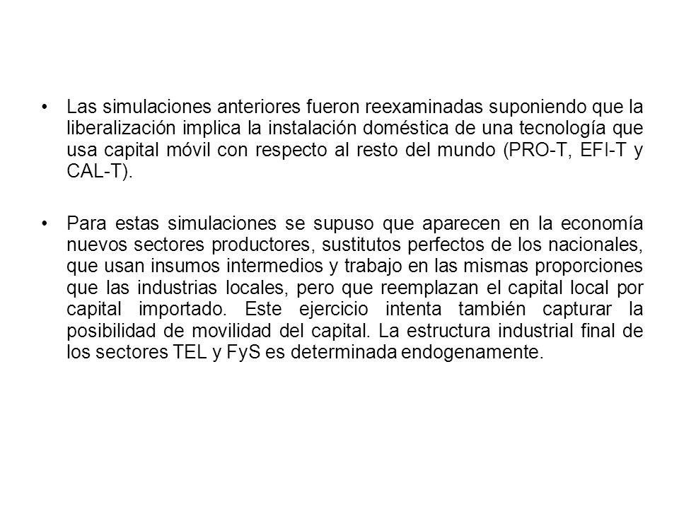 Las simulaciones anteriores fueron reexaminadas suponiendo que la liberalización implica la instalación doméstica de una tecnología que usa capital móvil con respecto al resto del mundo (PRO-T, EFI-T y CAL-T).