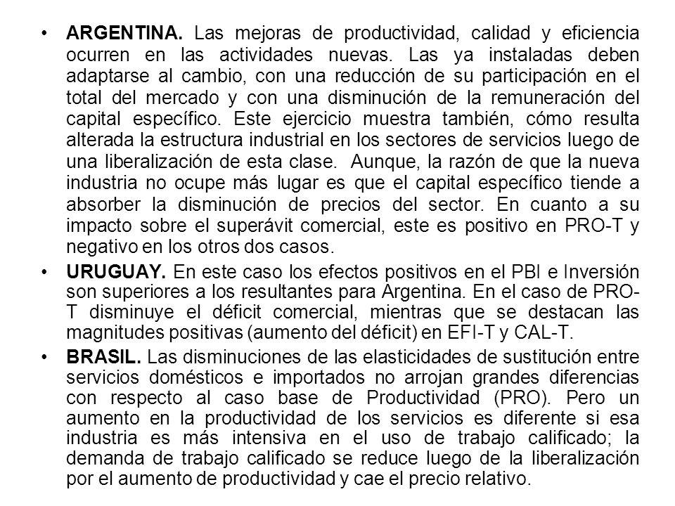 ARGENTINA. Las mejoras de productividad, calidad y eficiencia ocurren en las actividades nuevas.