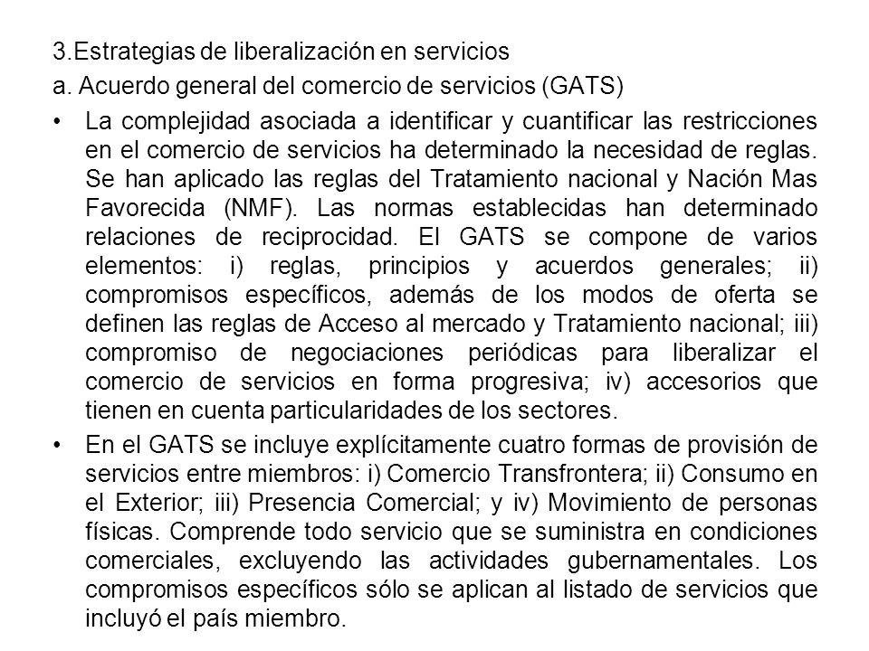 3.Estrategias de liberalización en servicios a.
