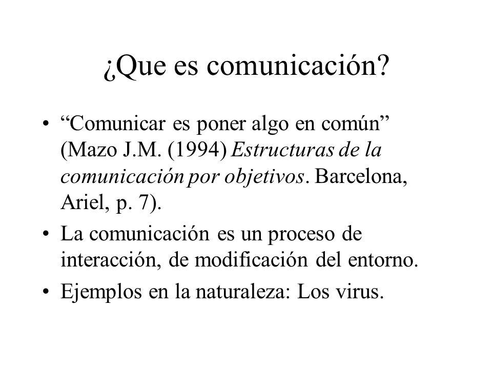¿Que es comunicación? Comunicar es poner algo en común (Mazo J.M. (1994) Estructuras de la comunicación por objetivos. Barcelona, Ariel, p. 7). La com