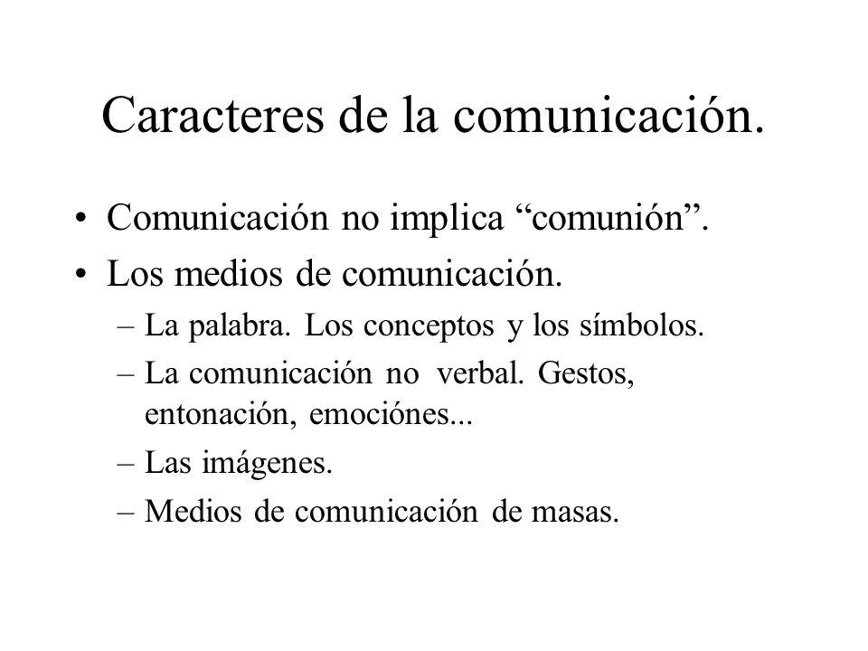 Caracteres de la comunicación. Comunicación no implica comunión. Los medios de comunicación. –La palabra. Los conceptos y los símbolos. –La comunicaci