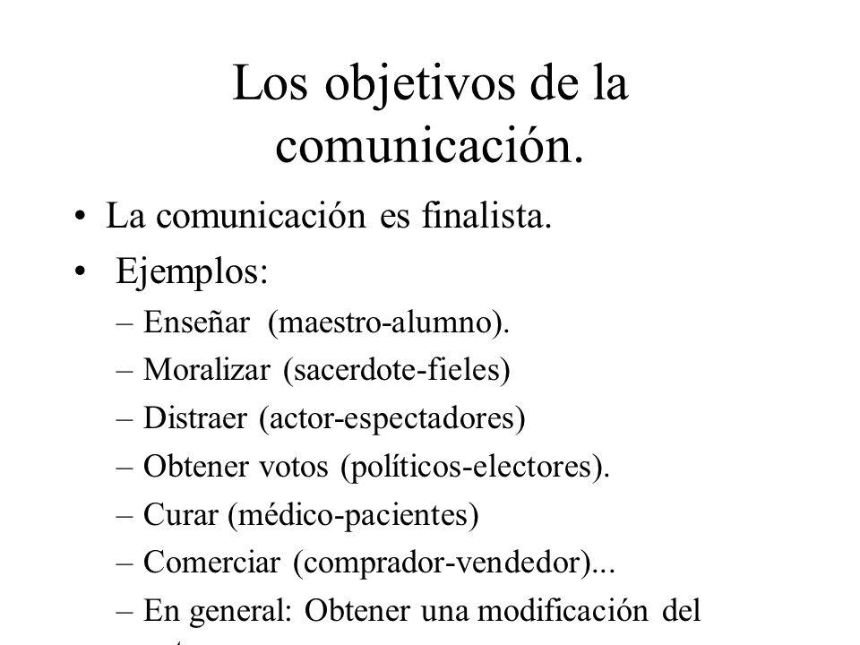 Los objetivos de la comunicación. La comunicación es finalista. Ejemplos: –Enseñar (maestro-alumno). –Moralizar (sacerdote-fieles) –Distraer (actor-es