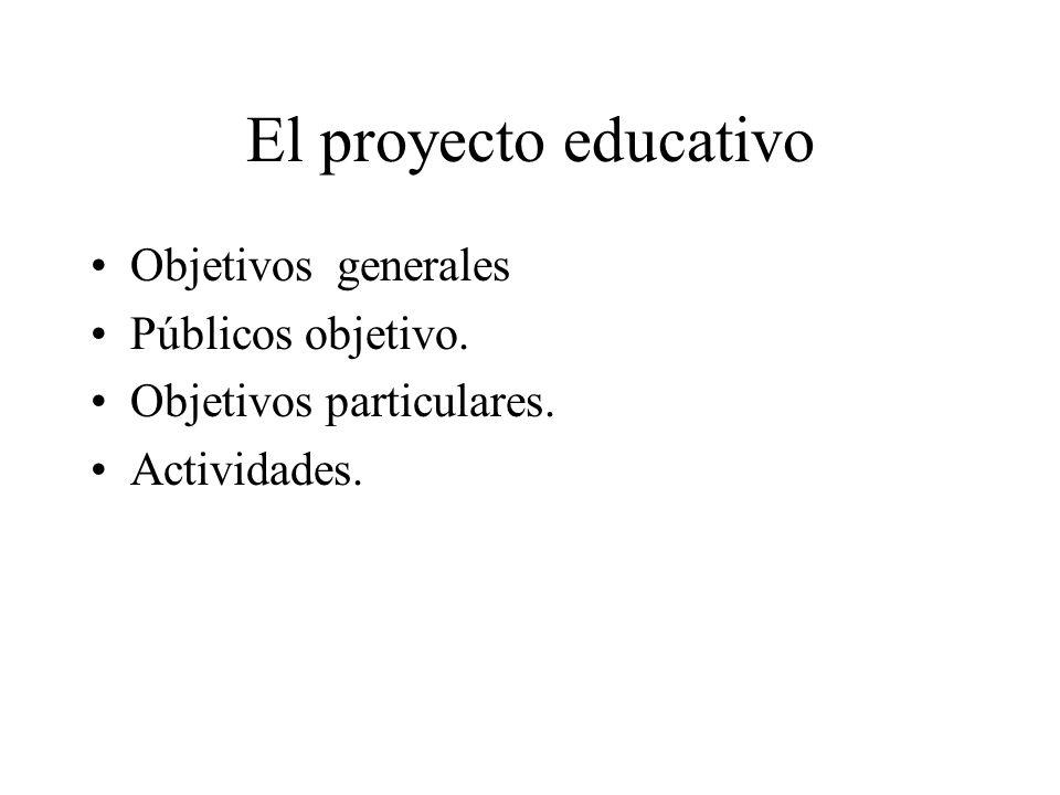 El proyecto educativo Objetivos generales Públicos objetivo. Objetivos particulares. Actividades.