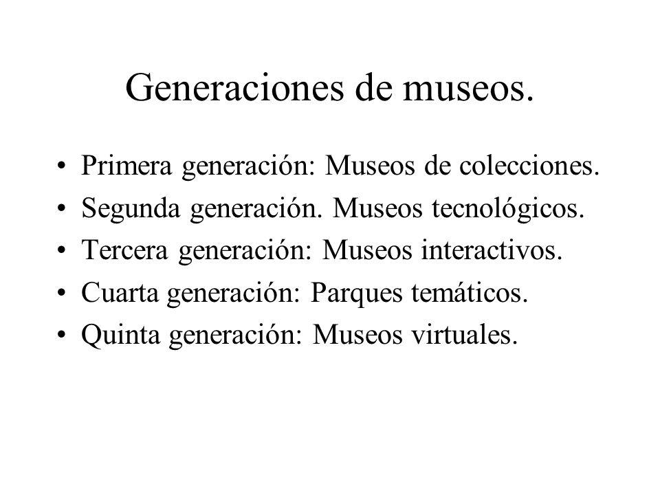 Generaciones de museos. Primera generación: Museos de colecciones. Segunda generación. Museos tecnológicos. Tercera generación: Museos interactivos. C